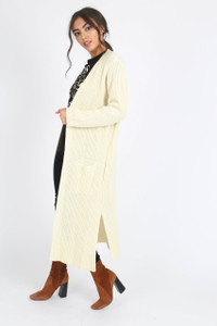 Cream Oversized Knitted Cardigan
