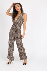 Leopard Print Sleeveless Wrap Jumpsuit