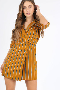 Mustard Stripe Mock Horn Button Mini Dress