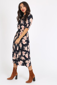 Navy Floral Button Down Midi Dress