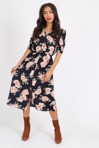 Navy Floral Button Down Midi Dress