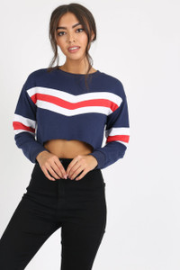 Navy Sports Stripe Crop Sweat Top