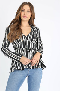 Mono Stripe Button Front Tea Top