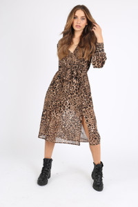 Leopard Animal Print Wrap Midi Dress