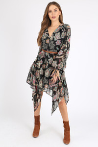 Black Paisley Print Hankey Hem Midi Dress