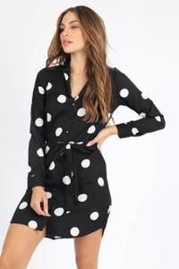 Black Polka Dot Button Detail Shirt Dress