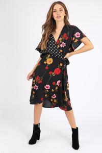 Black Contrast Print Self Tie Wrap Dress