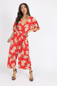 Red Floral Kimono Sleeve Jumpsuit