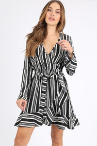 Mono Stripe Ruffle Hem Wrap Mini Dress
