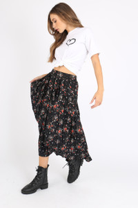 Black Floral Pleated Midi Skirt