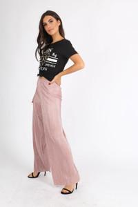 Pink Wide Leg Plissé Trousers