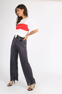 Charcoal Wide Leg Plissé Trousers