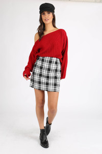 Red Chunky Knit Wide Neck Crop