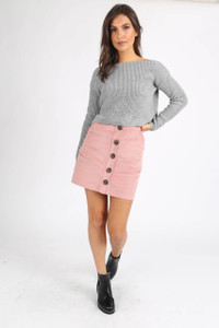 Grey Chunky Knit Wide Neck Crop