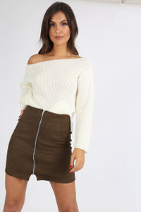 Cream Chunky Knit Wide Neck Crop