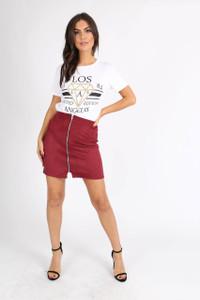 Wine Suedette Zip Front Mini Skirt