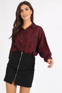 Black Suedette Zip Front Mini Skirt