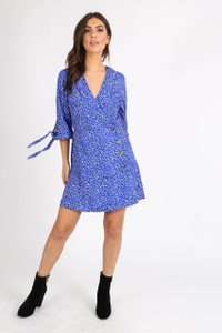 Blue Irregular Spot Side Button Mini Dress