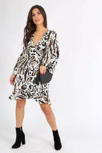 Leopard Print Flute Sleeve Wrap Dress