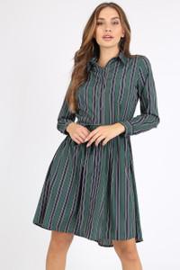 Green Stripe Tie Front Shirt Dress