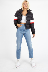 Black Colour Block Sports Stripe Puffer Jacket