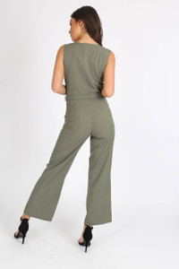 Khaki Sleeveless Wrap Front Jumpsuit