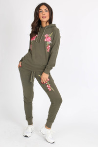 Khaki Embroidered Floral Sweat Tracksuit