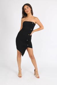 Black Bandeau Button Detail Mini Dress