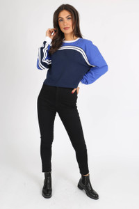 Blue Sports Stripe Cropped Sweat