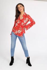 Red Floral Kimono Wrap Blouse