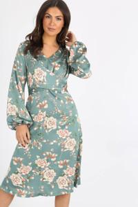 Green Satin Floral Crossover Midi Dress
