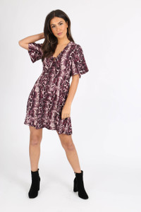 Purple Snake Print Tie Front Babydoll Dress