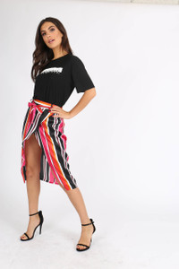 Multi Stripe Satin Self Tie Wrap Skirt