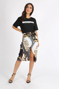 Multi Chain Print Self Tie Wrap Skirt
