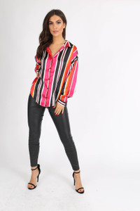 Multi Stripe Button Down Oversized Shirt