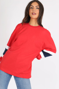 Red Colour Block Sports Stripe Sweat