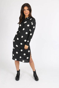 Black Polka Dot Button Down Shirtdress
