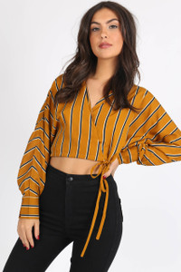 Mustard Stripe Drawstring Wrap Crop Top