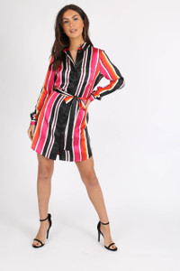 Multi Satin Stripe Self Tie Belt Shirtdress