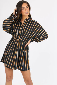 Black Multi Stripe Tie Waist Shirtdress