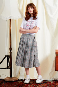 Drop Waist Pleated Midi Skirt