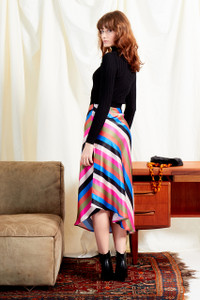 Sienna Stripe Satin Midi Skirt