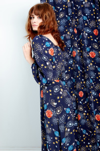 Stella Constellation Print Tie Front Midi Dress