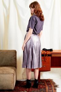 Metallic PU Leather Pleated Midi Skirt