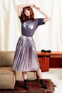 Metallic PU Leather Pleated Midi Skirt