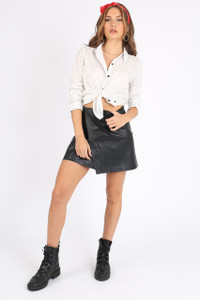 Black PU Leather Asymmetric Wrap Skirt