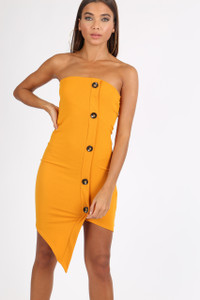 Mustard Bandeau Button Detail Mini Dress