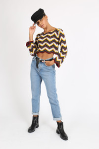Multi Chevron Knitted Cropped Jumper