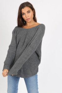 Charcoal Knot Back Detail Knit