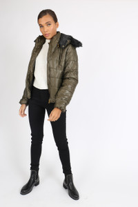 Olive Shiny Fur Hooded Puffer Jacket